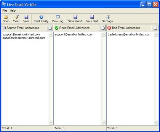 Программа для Проверки Емейл Адресов - Главное Окно