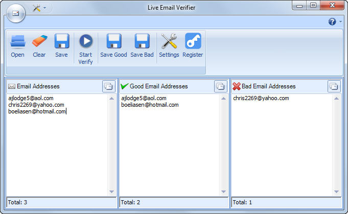 Live Email Verifier Screen shot